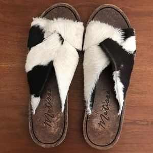 Matisse Alamosa leather & cow hide slides